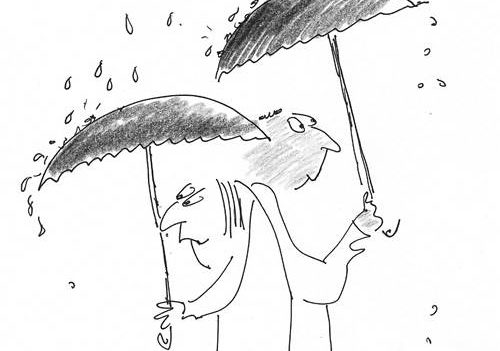 Image: Trustees holding umbrellas